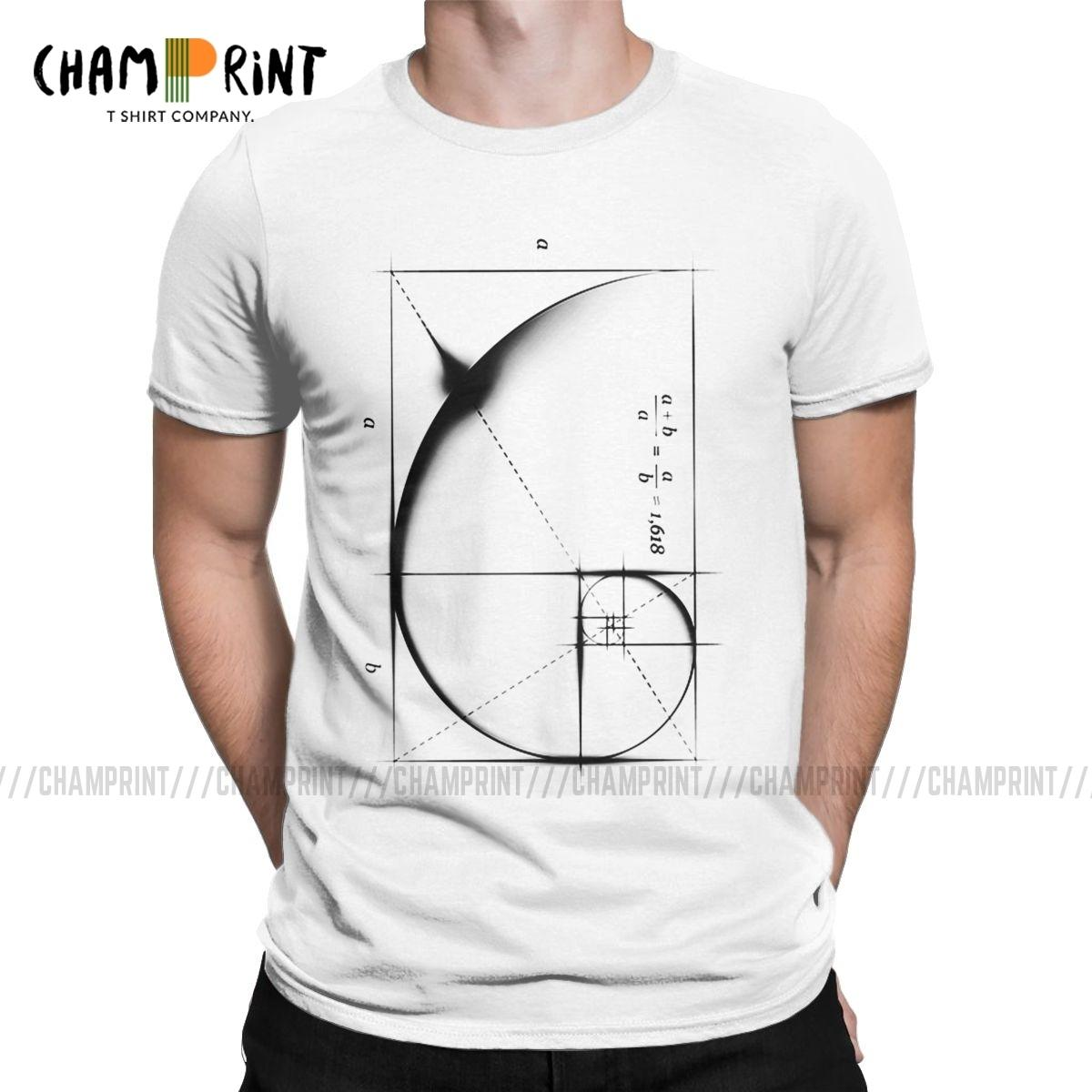 Fibonacci Séquence Golden Ratio Hommes T-shirt Math Math Technique Tee-shirt Vintage T-shirt Rond Collier T-shirts Plus Vêtements de taille L0223