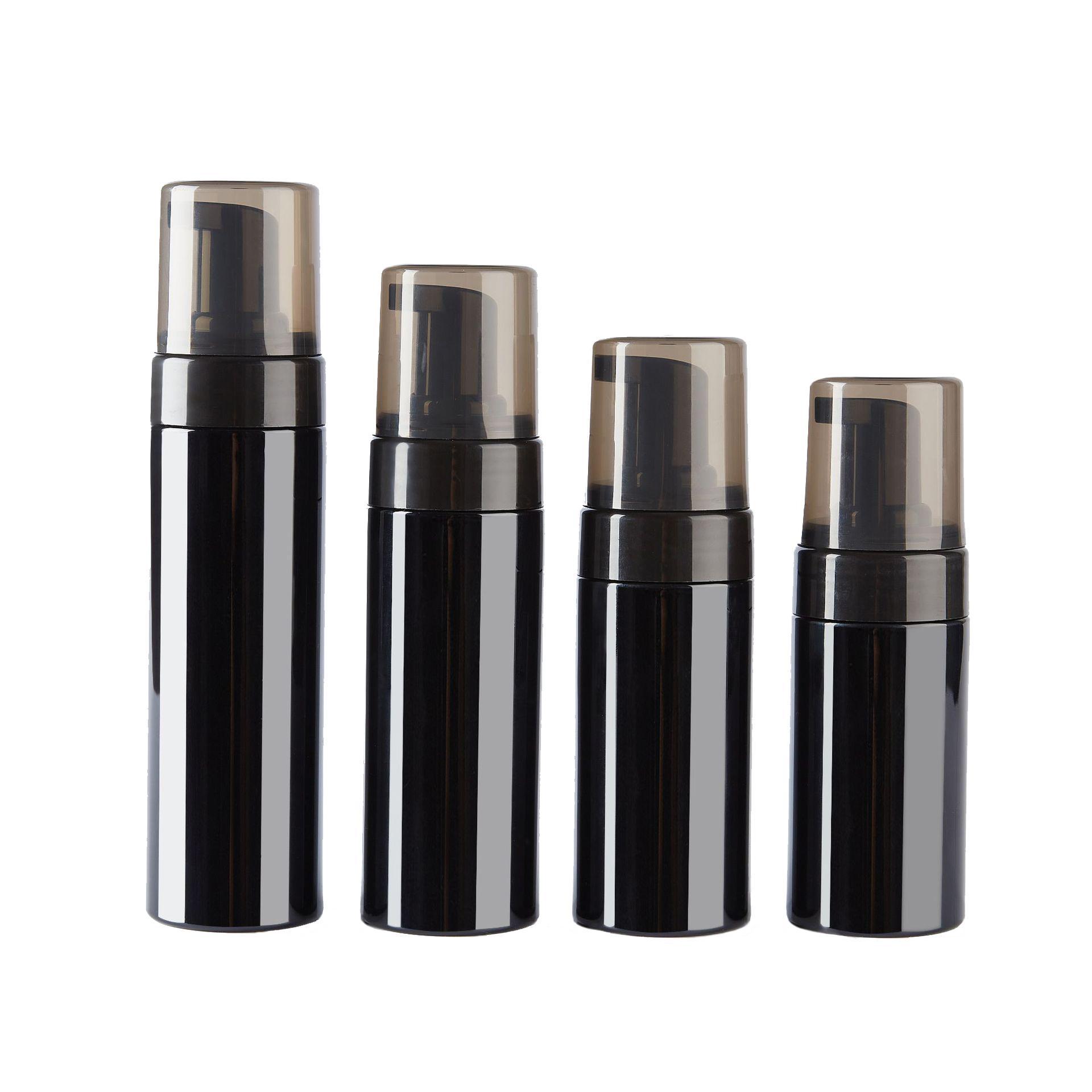 Bouteilles de pompe en mousse en plastique noire 100 ml 120 ml 150ml 200 ml 200 ml BPA gratuit avec couvercle transparent-noir pour la mousse de savon moussant