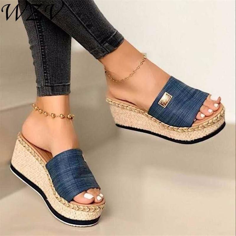 2021 cunhas de verão plataforma plataforma de salto alto mulheres chinelos senhoras fora de sapatos básicos clog cunha chinelo flip flop sandálias