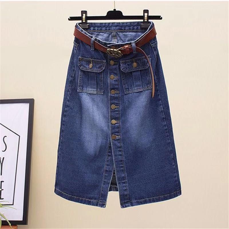 Nuevo 4xl verano otoño mujeres faldas más tamaño moda casual suelto suelto botón solo bolsillos pantalones faldas para las mujeres falda de mezclilla