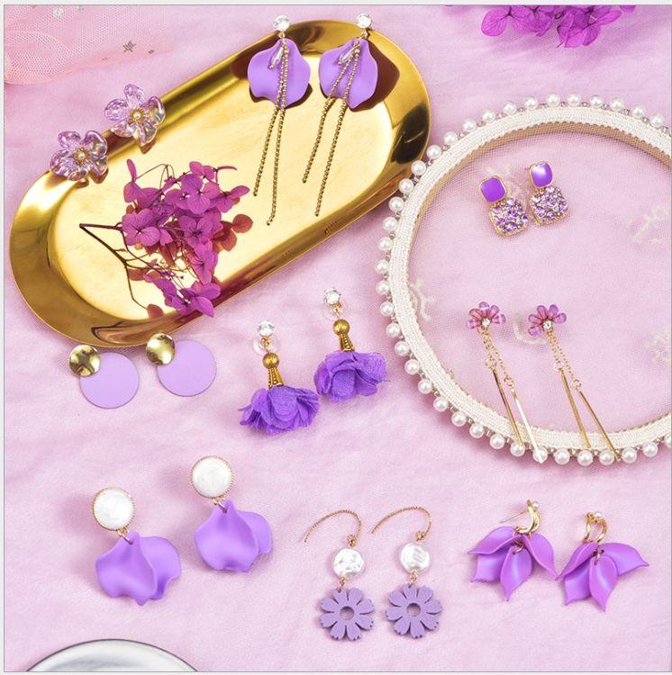 Wholesale 925 Silver Needle Fairy Purple Flower Earrings Female Retro Style Beauty Earrings Soft Clay Korea Wind Jewelry