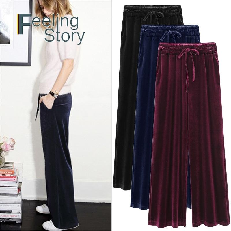 Lange Hose Frühling Sommer Koreanische Version Hohe Taille Gold Samt Plissee Lose Wide Bein S Kausal Plus Größe 6XL 210603