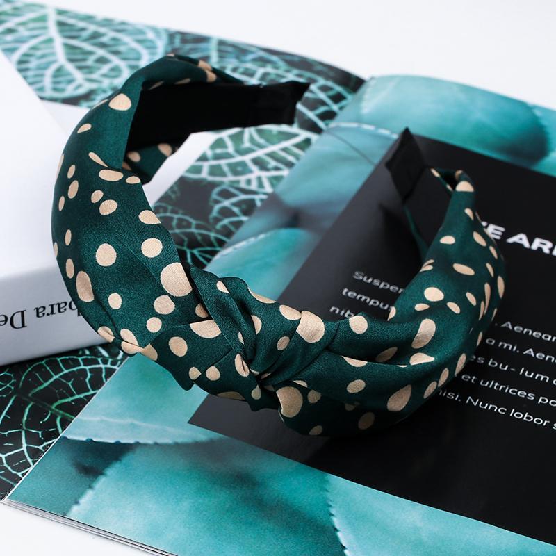 Haarschmuck Mode Punkt gedruckt Satin Haarband für Frauen Mädchen Knoten Kopfband Schwarz Weiß Hoops Lünette Weiblich
