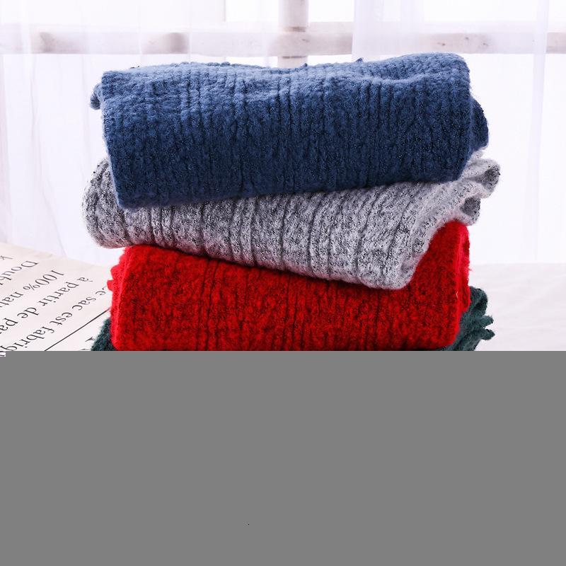 Осенью и зима новая новая корееская пара чистого цвета универсальная длинная шея утолщение теплый вязальный шерстяной шарф