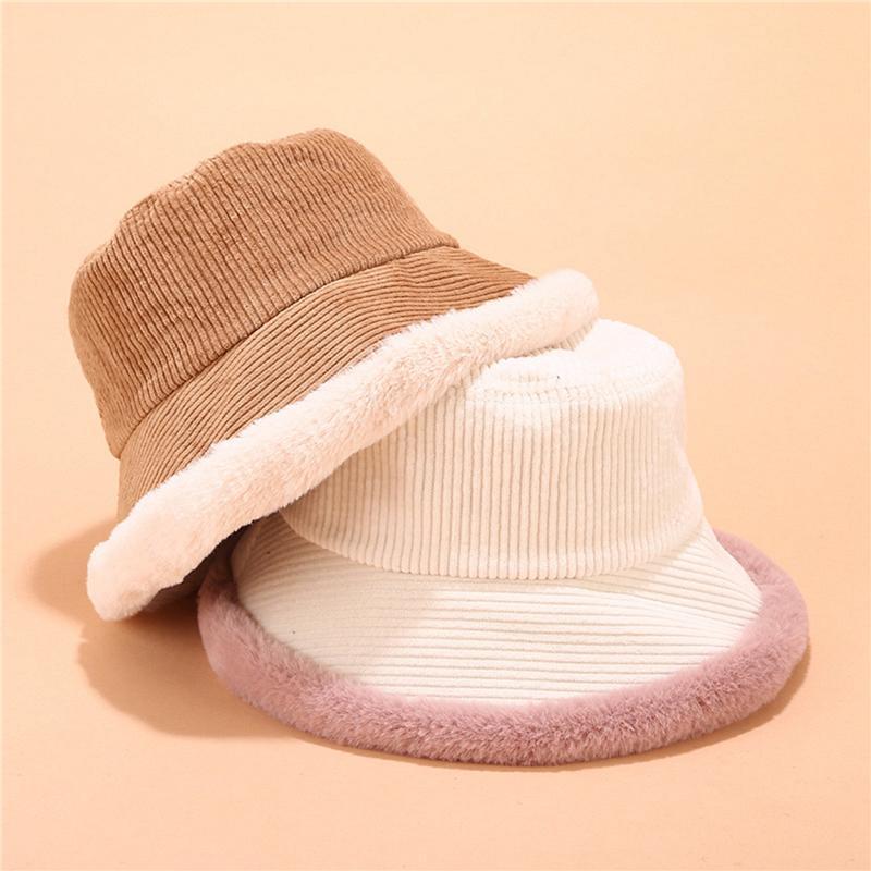 2021 Autumn Winter Bucket Hats Women Corduroy Panama Hat Thick Warm Plush Fisherman Cap For Girl Crimping Basin Hat Kapelusz