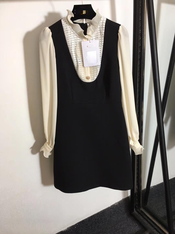 223 2021 Dress da pista Brand Lo stesso stile Abito Abito a maniche lunghe Stand Collar Black Empire Fashion Womens Dress Weinish