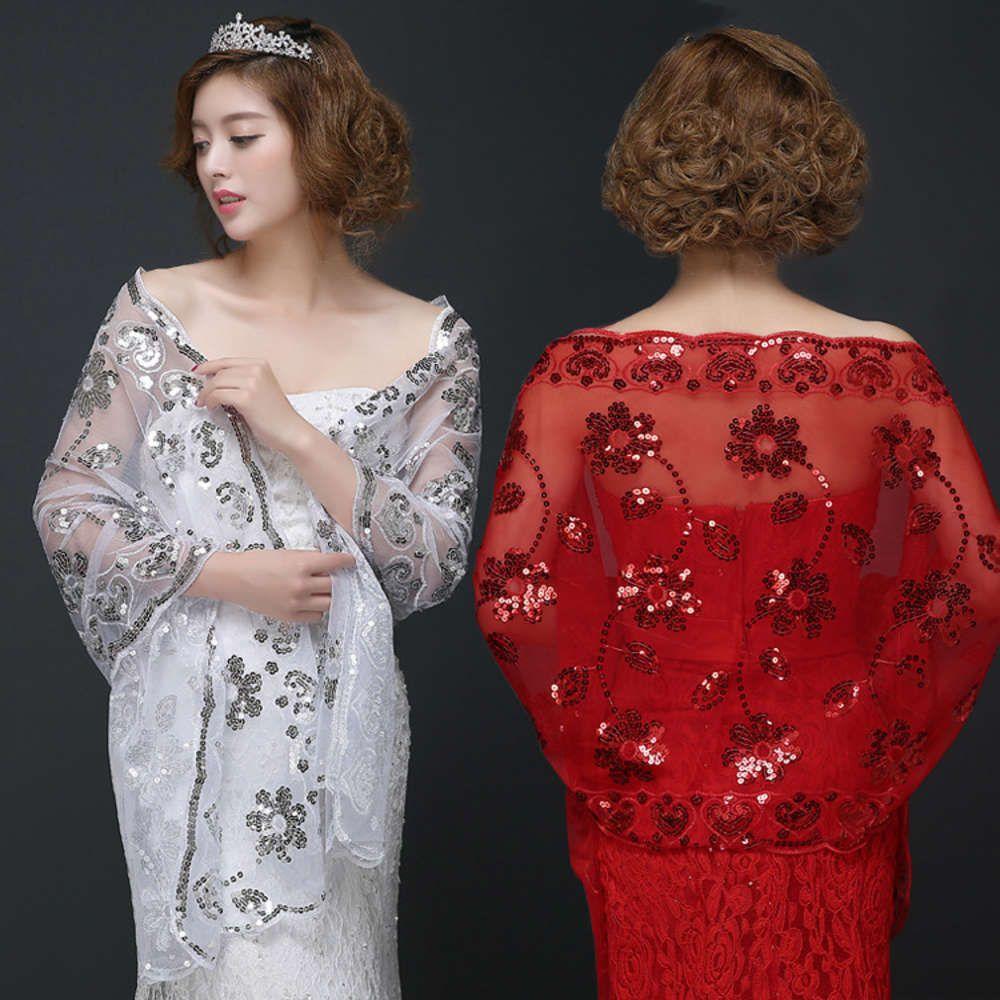 Grande scialle nuziale sottile primavera e pizzo estivo vestito rosso sciarpa matrimonio Qipao