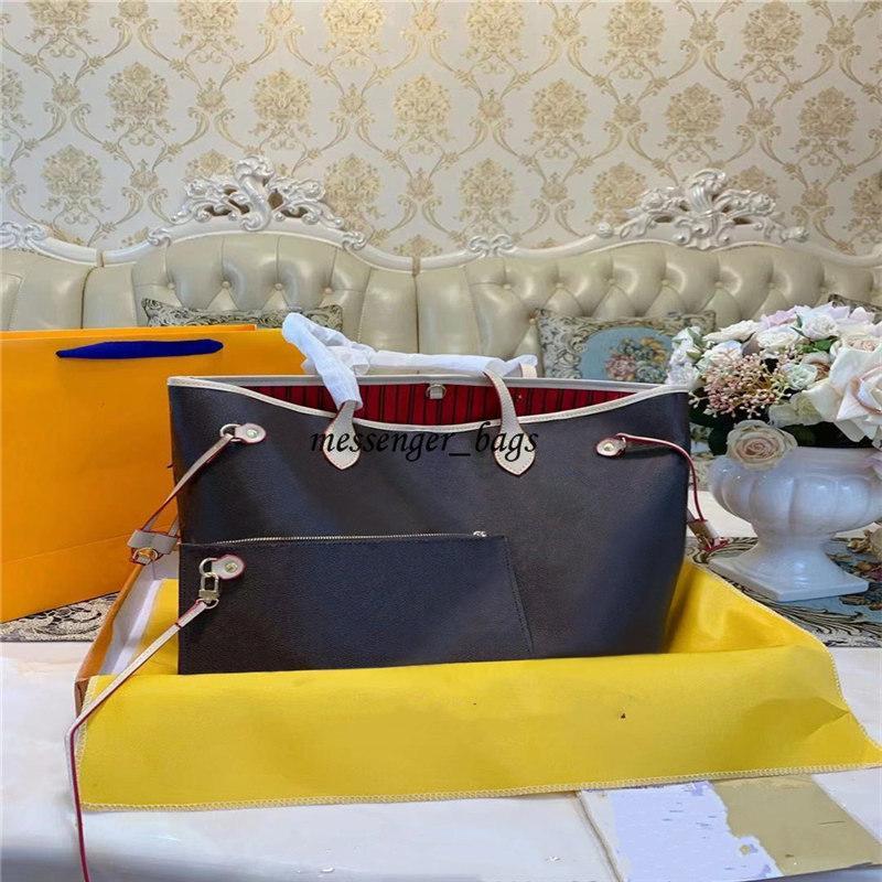 2021 Lüks Omuz Çantaları Çanta Kılıf 2 adet / takım çanta Bayan Çanta Sırt Çantası Kadın Tote Çanta Çantalar Kahverengi Çanta Deri Debriyaj Moda Cüzdan Çanta Kutusu ve Toz
