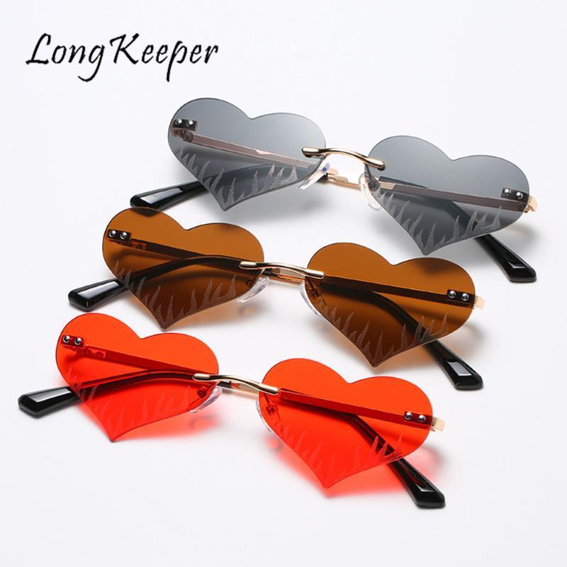 Sunglasses LongKeeper Fashion Rimless Heart Shaped Women Trendy Vintage Sun Glasses Men Personality Clear Lens Eyewears
