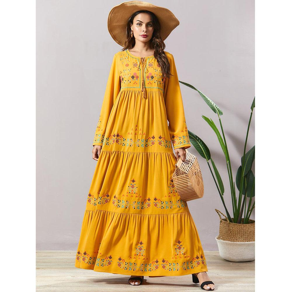 Nakış Bohemian Etnik Uzun Elbise Kadınlar Abayas Müslüman Arap Kaftan Robe Ramadan Dubai Rahat Gevşek İslam Giyim Tu Gyvx