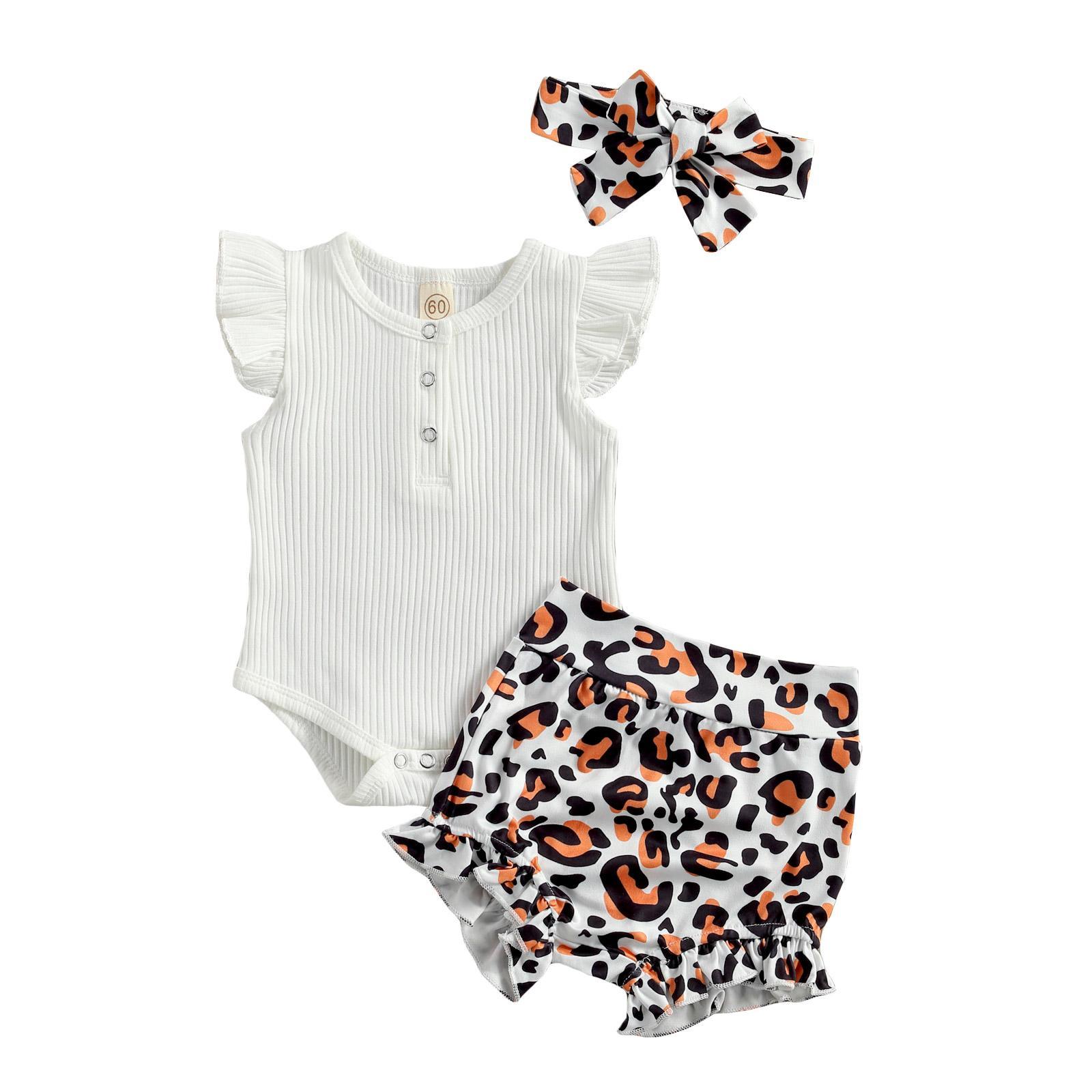 0-18 m babys kleidung set feste langarm bodysuit top + leopard shorts mit stirnband 3 stücke set für babykleidung