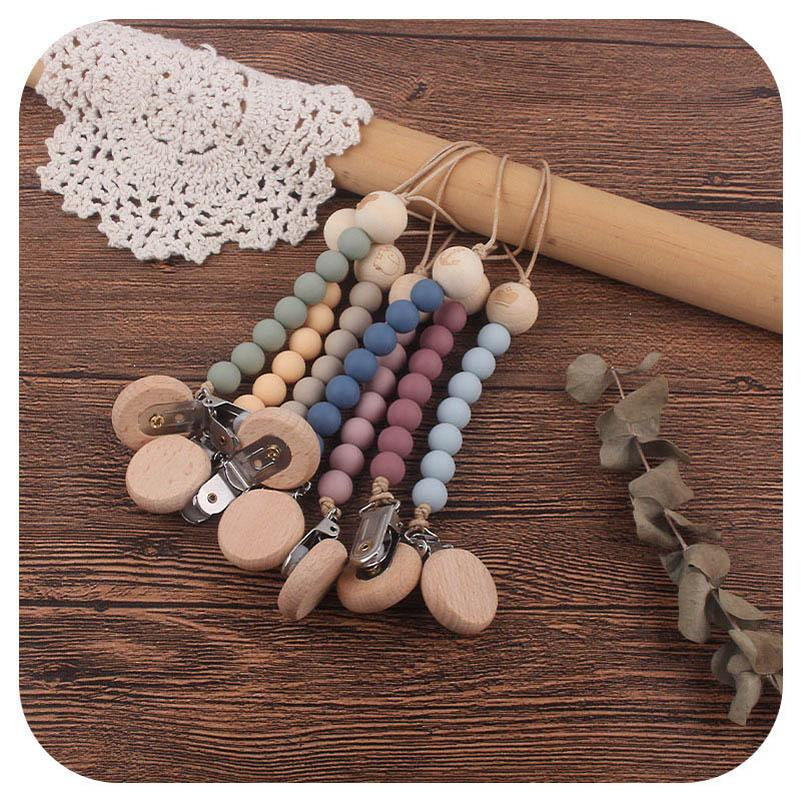 Baby Pacifier Holders Chain Clips Natural Wooden Silicone Teething Beads Newborn Teeth Practice Toys Infant Feeding Kids Chew Toy Love Accessories Animal B8380