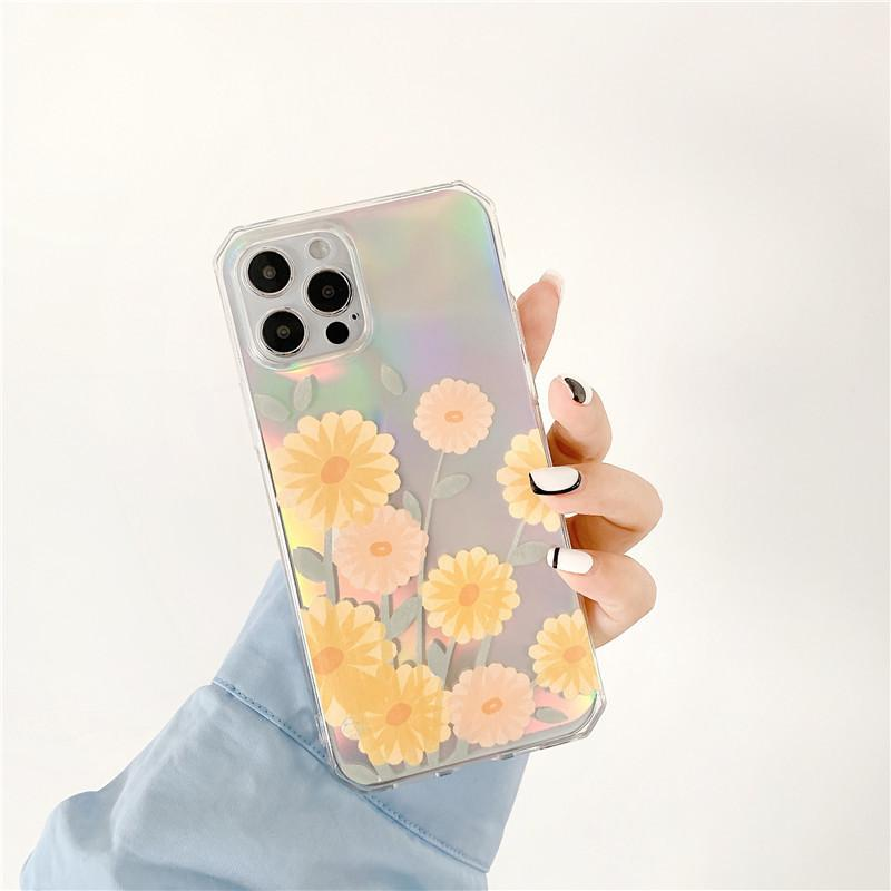 Cas de téléphone Laser Daisy pour iPhone 11 PRO XS max 7 8 plus 12 Mini X XR TRANSPARENT CAPA