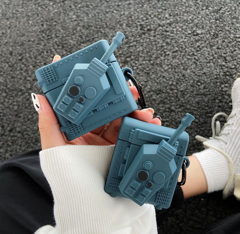 Capas de silicone criativos do silicone da figura do tanque 3D para os airpods 1 2 Pro Tampa do fone de ouvido Bluetooth
