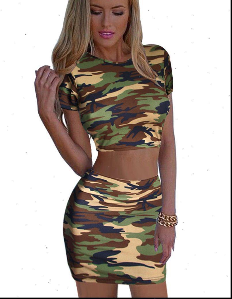 Камуфляж женские установлены короткие вершины и юбка леди мини рубашки карандаш для карандашей юбки девушка летняя одежда вечеринка клуб сексуальный набор