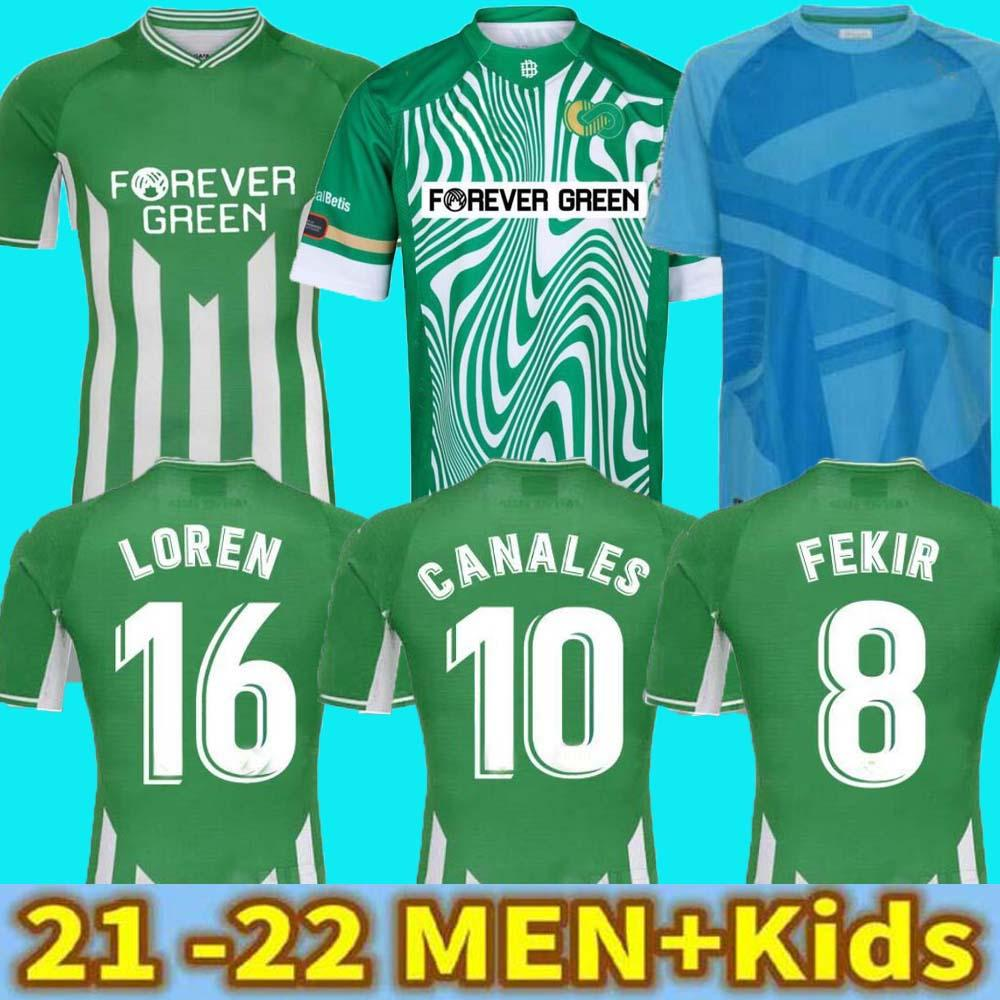 21 22 Gerçek Betis Futbol Forması Futbol Forması Joaquin Loren Boudebouz Bartra Eve Uzakta Lanales Hatıra Edition Fekir 2021 2022 Adam Kids Kits Futbol Gömlek