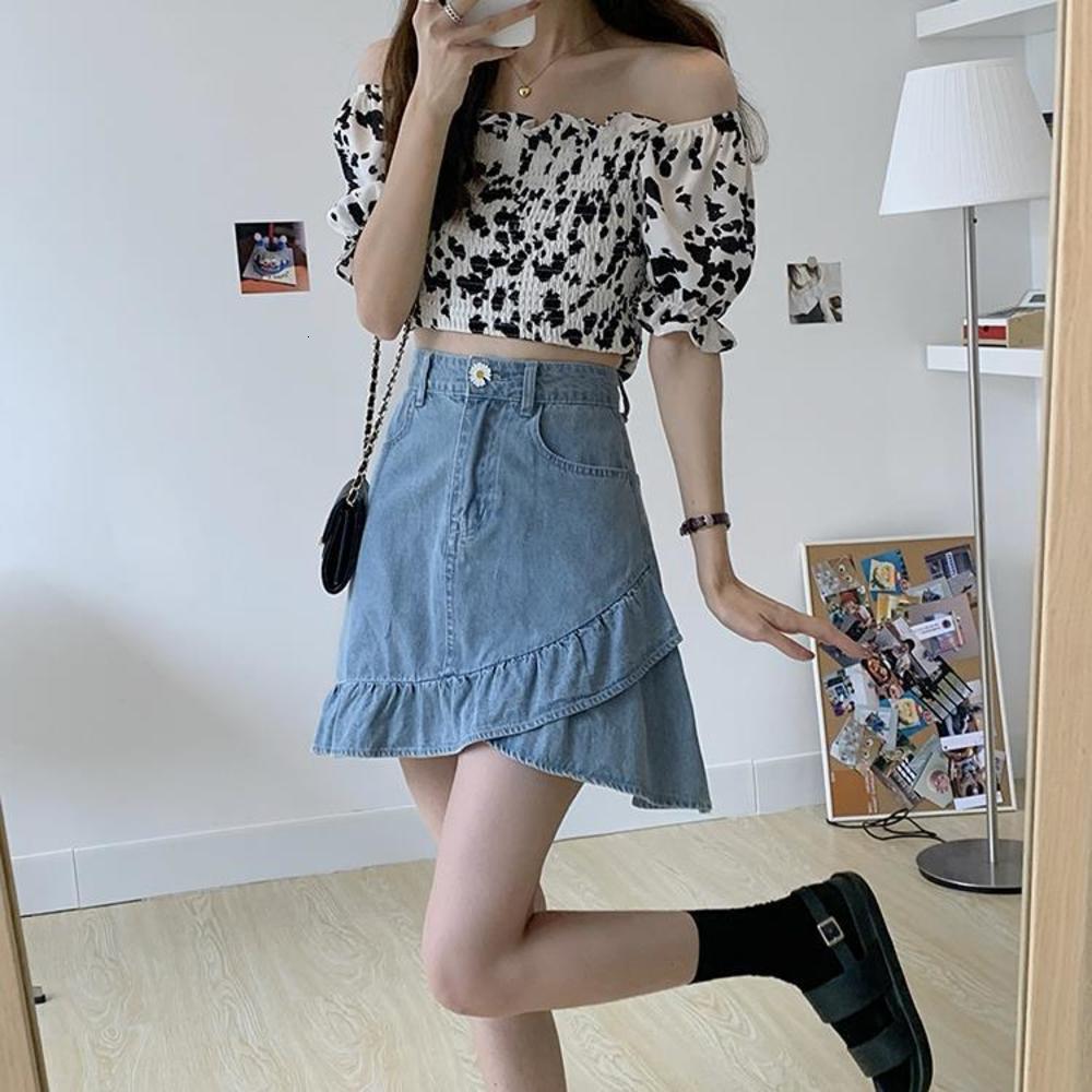 봄 2021 새로운 한국어 디자인의 프릴 데님 하프 길이 A 라인 짧은 치마 트렌디 한 소녀