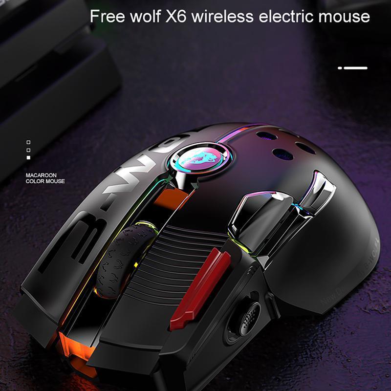 Omeshin RGB Wireless Wired Dual-Mode Перезаряжаемая механическая мышь 2.4 ГГц Беспроводное соединение 12000 DPI джойстик игровой мышь