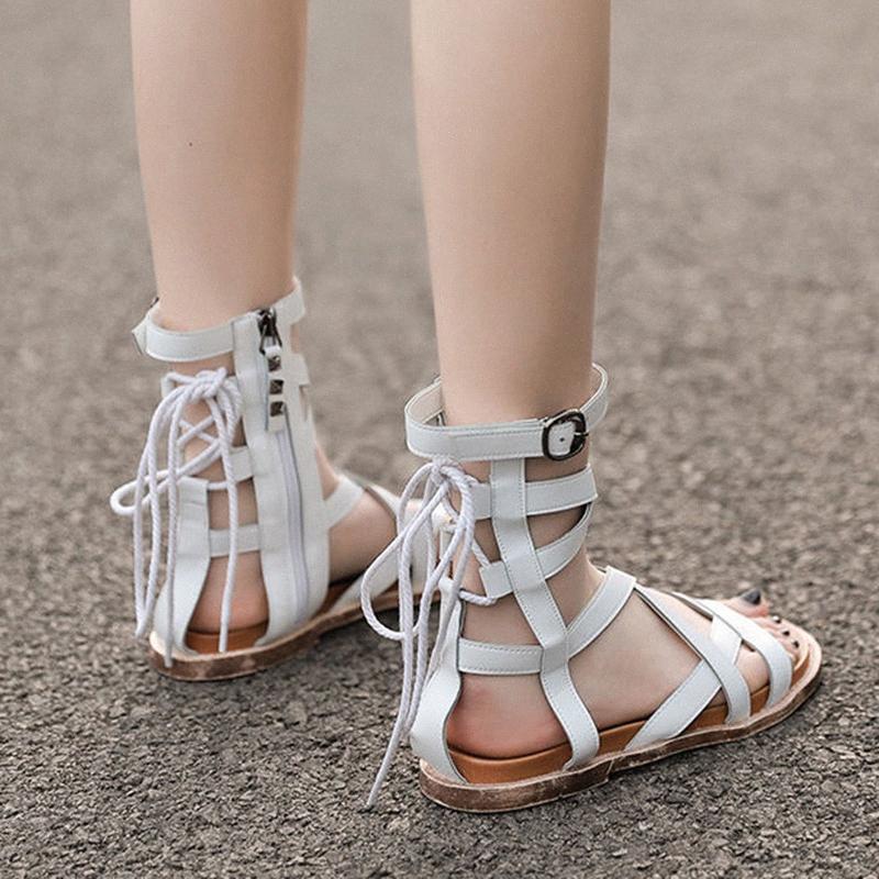 Womens Sandals Gladiador Feminino Feminino Liso Roma Cruz Amarrado Ankle Fivela Senhoras Sapatos Casuais Zipper 2020 Mulher Verão L67x #