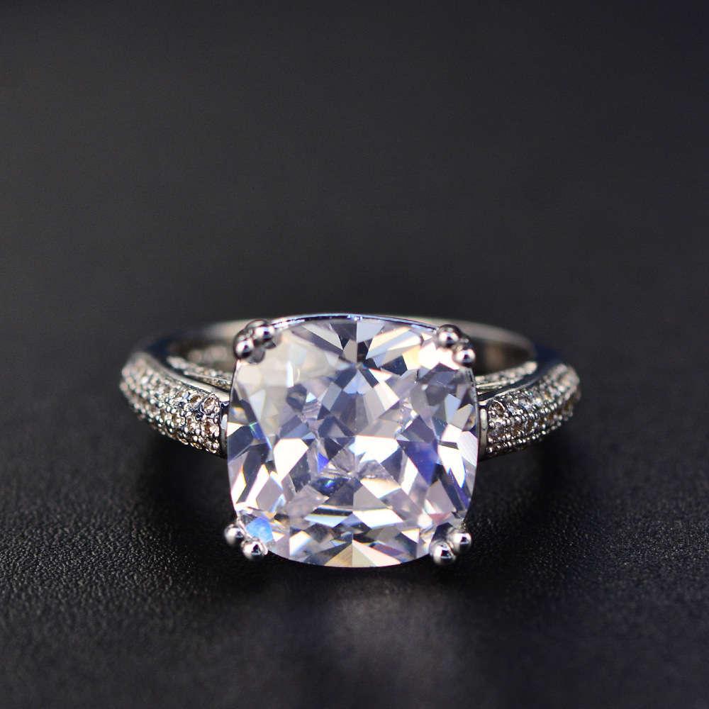 HBP Mode Luxus Quadrat * 12 Rosa Zirkon Ring Temperament Zwei Reihen von Damen Diamant Classic Vier Krallen