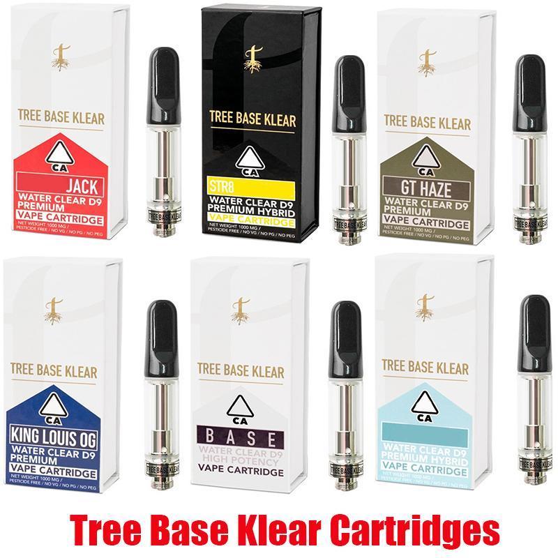 트리베이스 Klear 카트리지 0.8ml 없음 누출 분무기 세라믹 코일 510 스레드 두꺼운 오일 Pyrex 유리 vape 카트 스티커와 함께 소매 상자