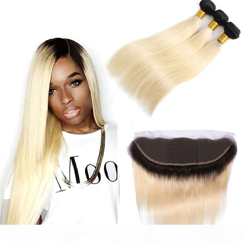Cheveux vierges indiens 1B 613 double couleur 3 paquets avec dentelle 13x4 frontale de 4 pièces Extensions de cheveux humains 12-24inch 1B 613 blonde