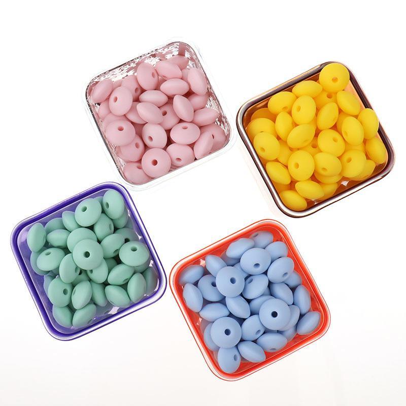 FKISBOX 300 PCS Liso Silicone Beething Beads Lentilhas Teethers Bead DIY Comida Grau Silicone Beads Pulseira Decorativa Beads 12 * 7mm 210311