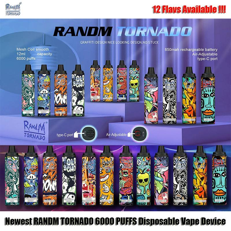 100 % Original Randm Tornado 6000 퍼프 전자 담배 일회용 vape 펜 장치 포드 12ml 통과 850mAh 배터리 충전 유형 -C 포트 공기 조정 흐름 vs 긱 바 아이돌 맥스