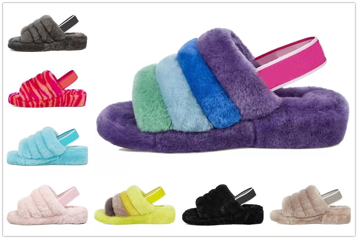 Kutu 2021 Tasarımcılar Kar Scuffette Disko Checker II Kadın Klasik Kabartmak Fuzz Evet Slayt Ayakkabı Bayan Kız Lady Kış Düz Wgg 35-42