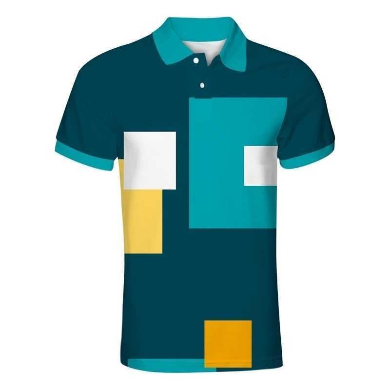 JeuneUp 3D Mens Polo Chemise Casual 3D Modèles imprimés à manches courtes Polo Chemise Streetwear Chemises mâles Plus Taille 7xl pour l'été 210319