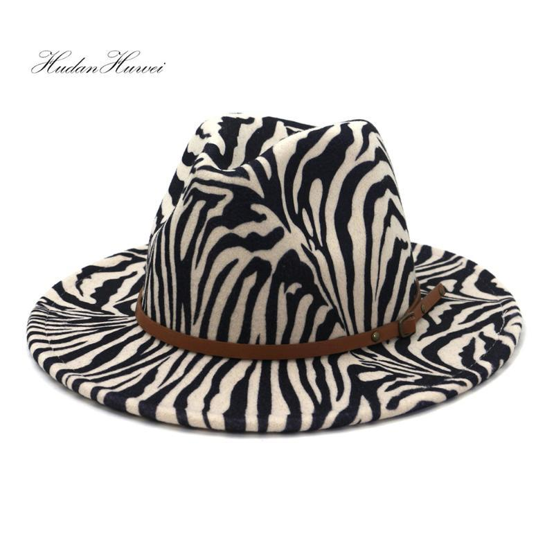 Hot Sell British Classic Camel Wine Red Grey Khaki Hat with Thin Leather Belt Zebra-printed Jazz Panama Fedora hat