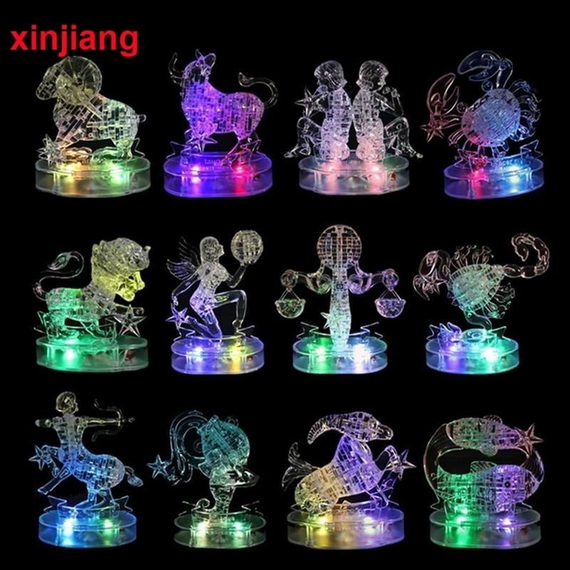 Assembly Horoscope 3D Crystal Puzzle Flashing LED Light Kids 12 Constellations Horoscope Jigsaw Puzzle Toys For Kids Gifts } Y200413