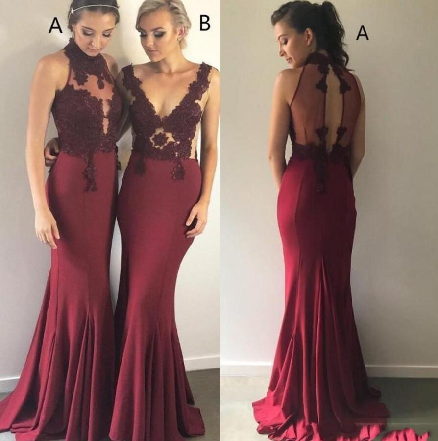 Cheap Simple Burgundy Mermaid Bridesmaid Dresses Long Illusion Satin Lace Applique Floor Length Wedding Guest Dresses Maid Of Honor Gowns