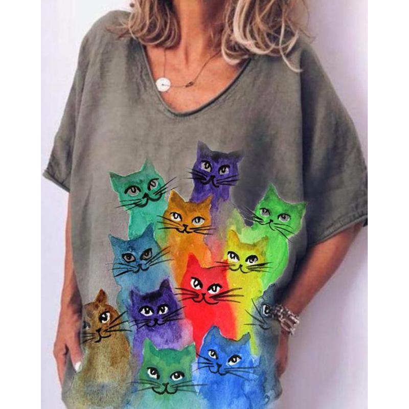 Zarif Kadın Gömlek Hayvan Kedi Uzun T-Shirt ile Harajuku Gömlek Kazak Daha Fazla Boyutu Tişörtleri Kadın JHP8