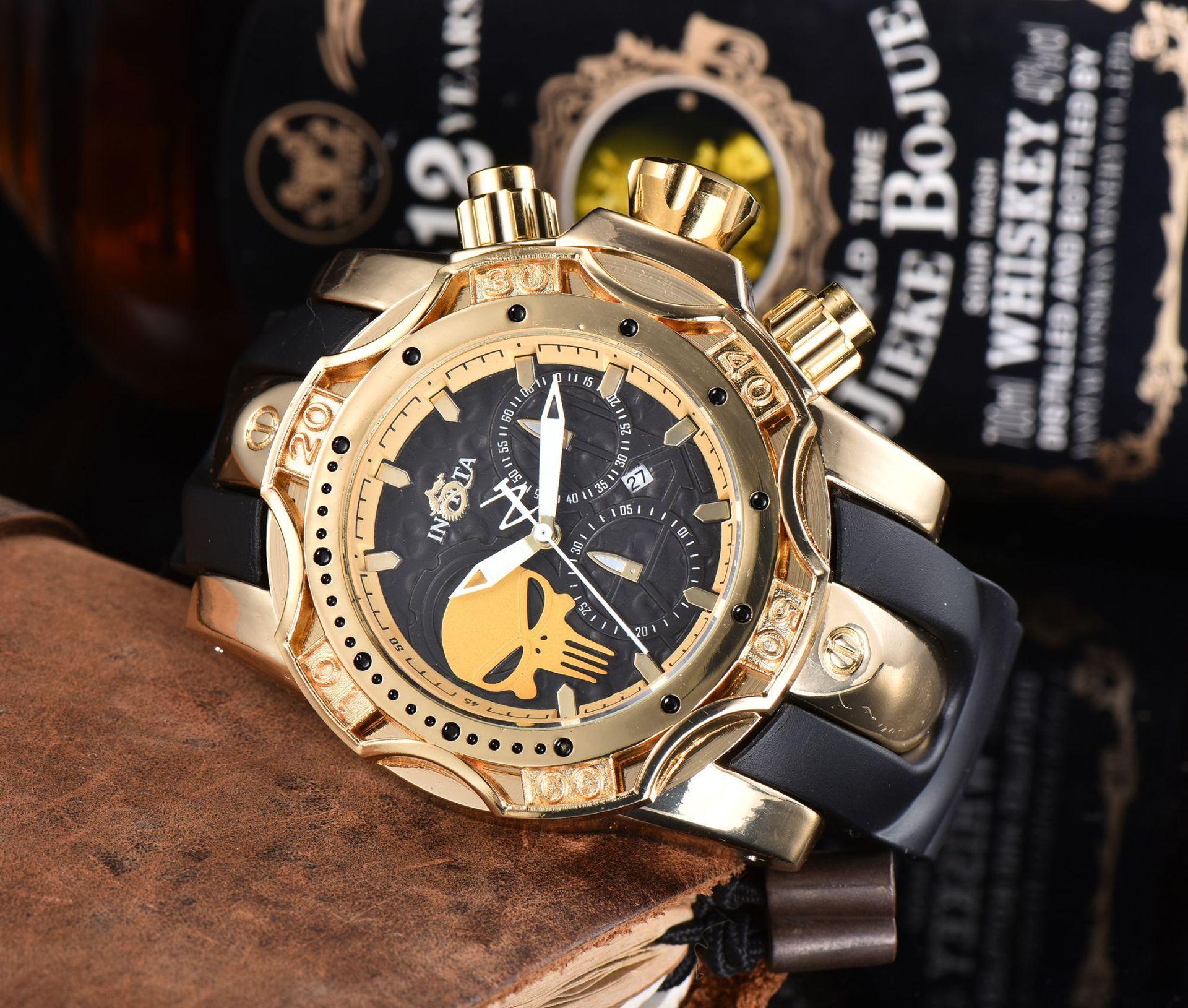 حار بيع invicta العلامة التجارية الفاخرة الرجال الكوارتز ساعة فريدة تصميم متعدد الوظائف عارضة الأزياء والساعات relógio masculino