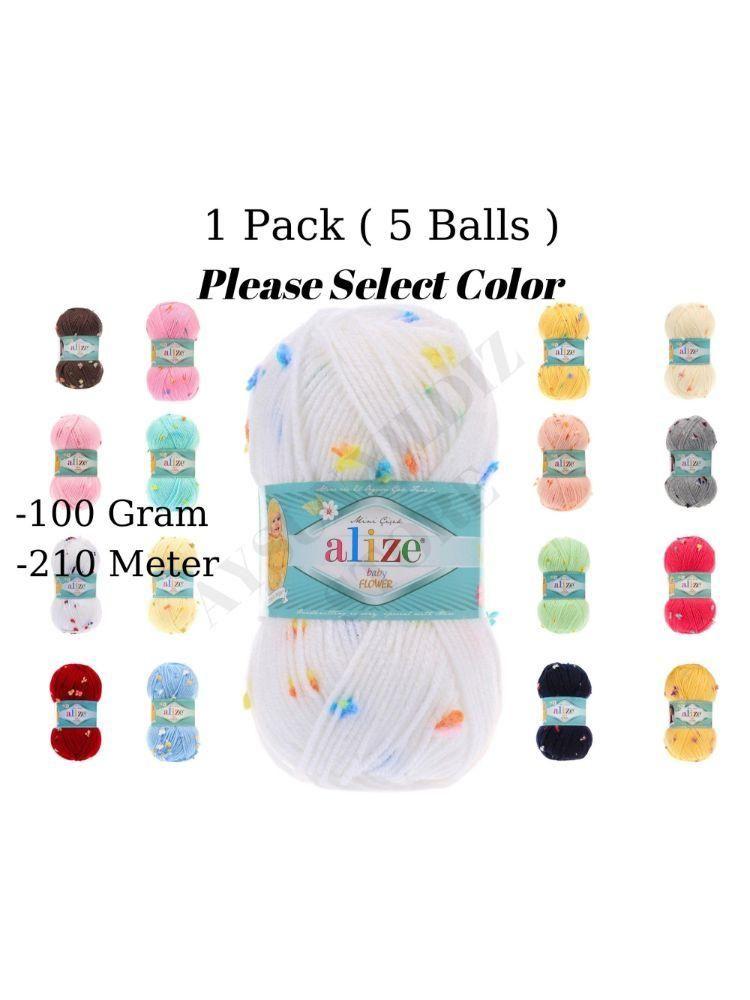 Hilo Hilo 1 Paquete (5 bolas) Alize Baby Flower Mano Mano Punto% 94 Acrílico% 6 Poliamida) 100 Gram 210 Meter Herramienta de crochet Kit