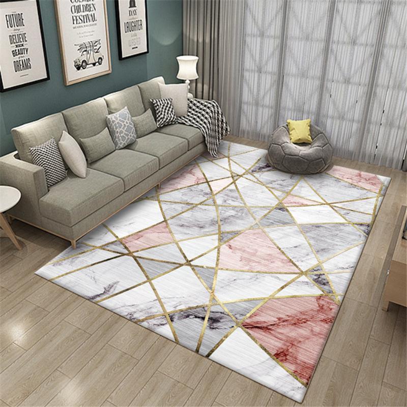 Carpets 2021 Nordic Simple Marble Geometric Printed Floor Bedroom Pink Decoration Girls Room Bedside Mat Anti-slip Rug Doormat