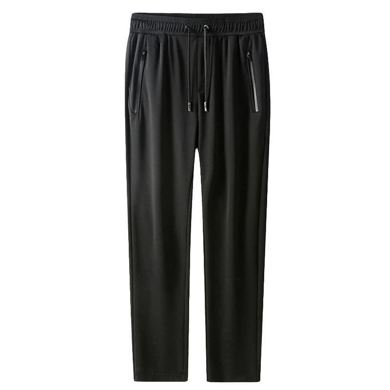 Летние мужские брюки ледяные крутые повседневные дышащие легкие быстрые сухие брюки мужские длинные брюки мужские черные плоские спортивные брюки 201217