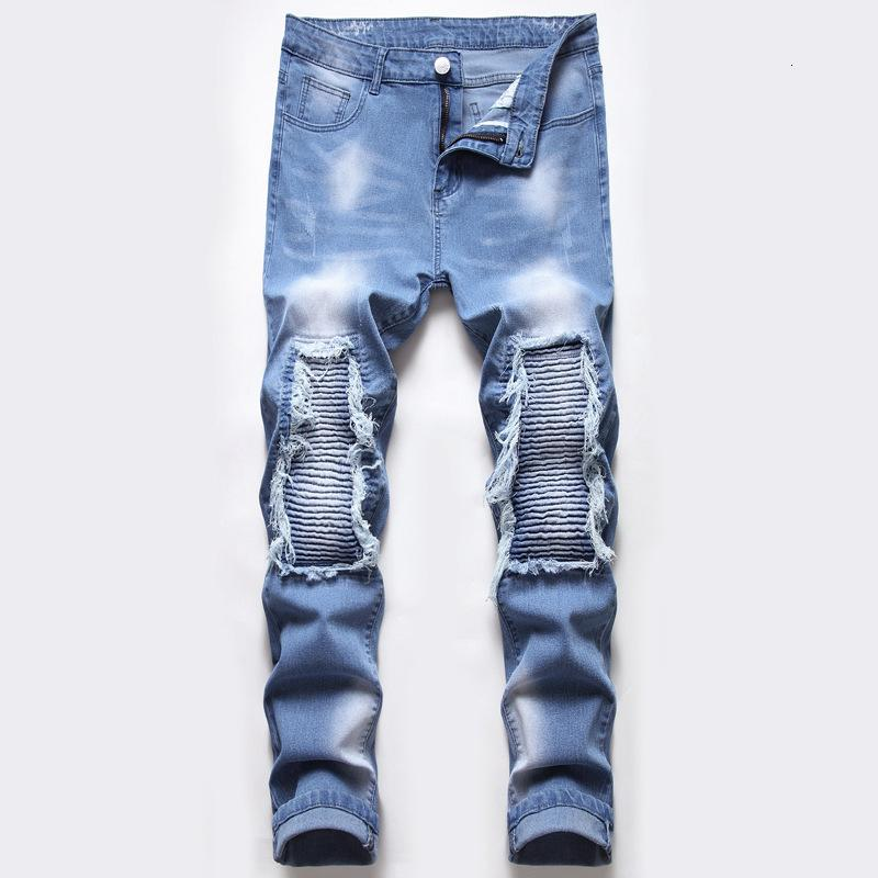 Marca de moda para hombres Slim Zipper Pierna Pequeño Tubo Recto Lavado Pantalones Jeans Pantalones