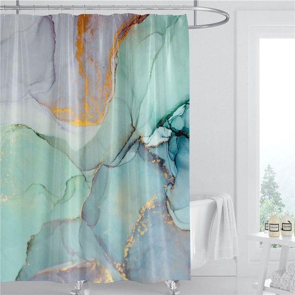 Padrão de mármore cortina de chuveiro 180cm tecido poliéster água à prova d 'água decoração do banheiro 3d impresso banheiro cortina mar navio hwb5465