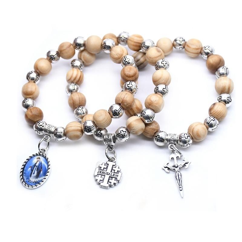 LCQigo Virgin Christ Cross Boîte en plastique Perles en plastique Bracelet brin pour hommes Femmes bijoux religieux
