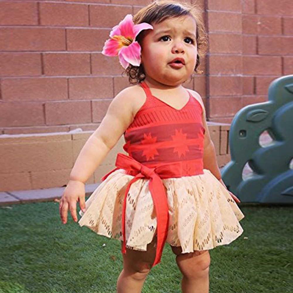 طفل الفتيات moana الصيف اللباس الاطفال توتو القوس شاطئ فستان الشمس toddldr الأطفال حزام عارية الذراعين الكرتون الأميرة لطيف تأثيري حلي Q0716