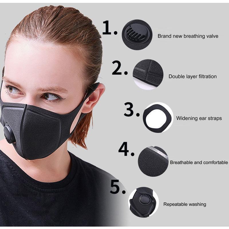 Máscara reutilizable de los filtros negros de polvo Máscara reutilizable individualmente con máscaras lavables empaquetadas individualmente con la válvula de respiración DHL Express FMBUF