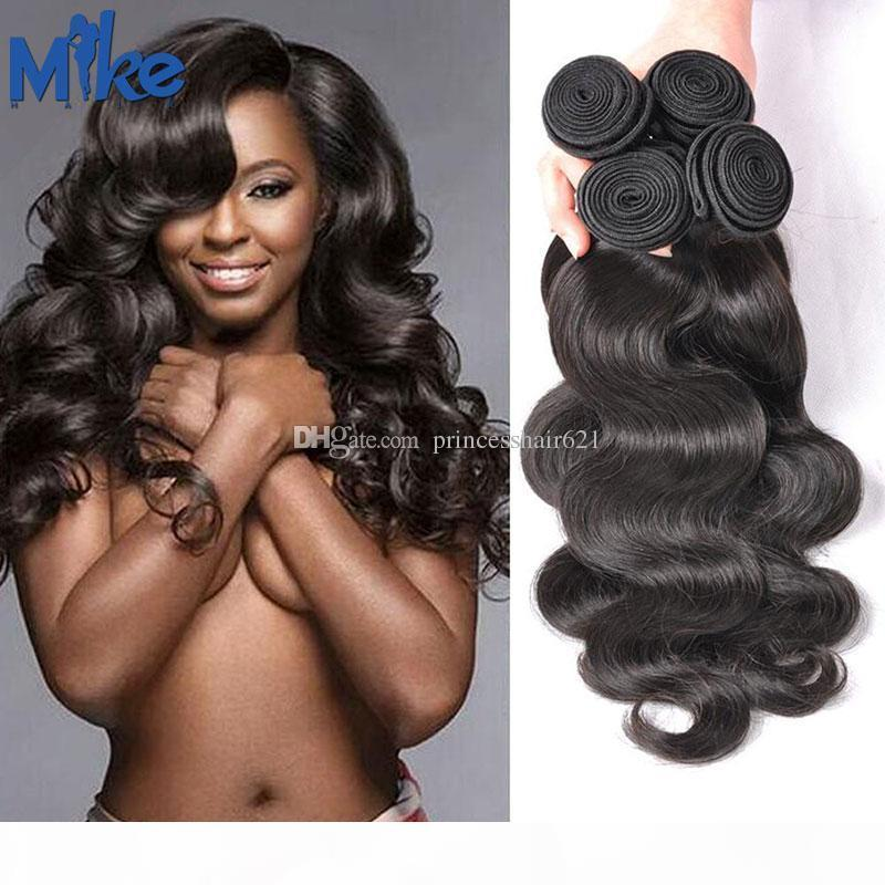 Mikehair Péruvien Malaisien indien Cheveux Brésilien 4 Bundles Vague corporelle non traitée Cheveux humains Teinses Double Extensions de cheveux ondulés terrables