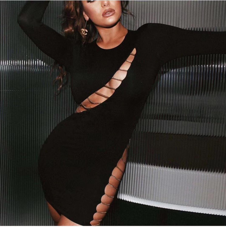 2021 Kış Seksi Kadınlar Hollow-Zincir Tasarımcı Siyah Bandaj Bayanlar Yok Geri Şık Bodycon Elbise Parti 9iAav