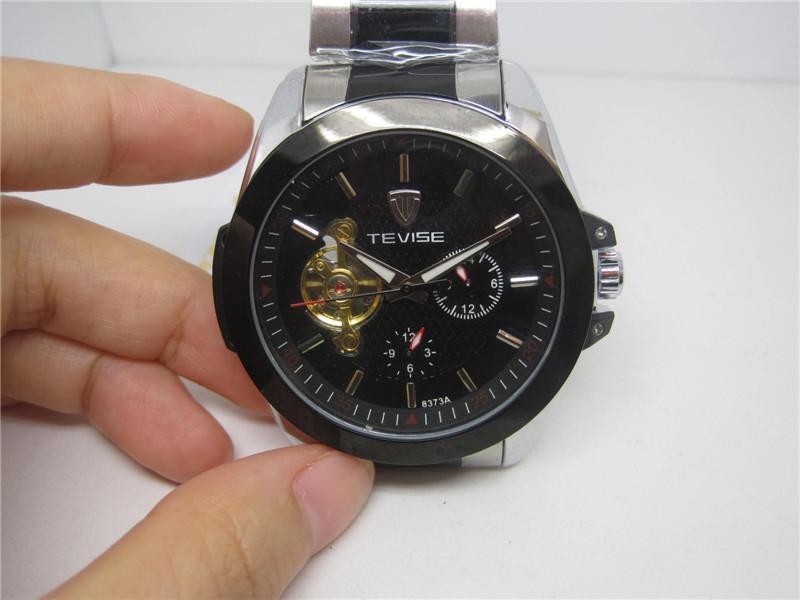 패션 손목 시계 자동 기계 손목 시계 남성 문자 시계 검은 얼굴 TE55