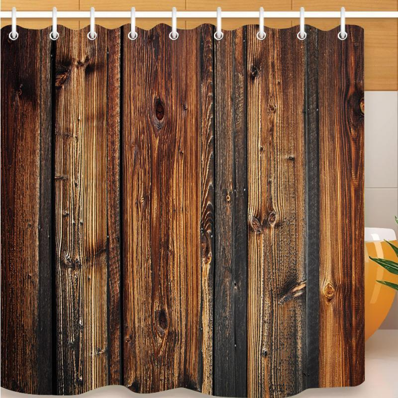 Rustic Wood Eco-friendly Vintage With Hooks Shower Curtain Practical Hotel 3D Print Fabric Waterproof Polyester Home Decor