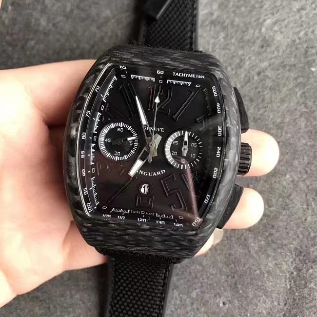 43 мм углеродной чехол хронограф Chrono секундомер 7753 автоматическое движение V45 мужские часы мужские наручные часы водонепроницаемый спорт