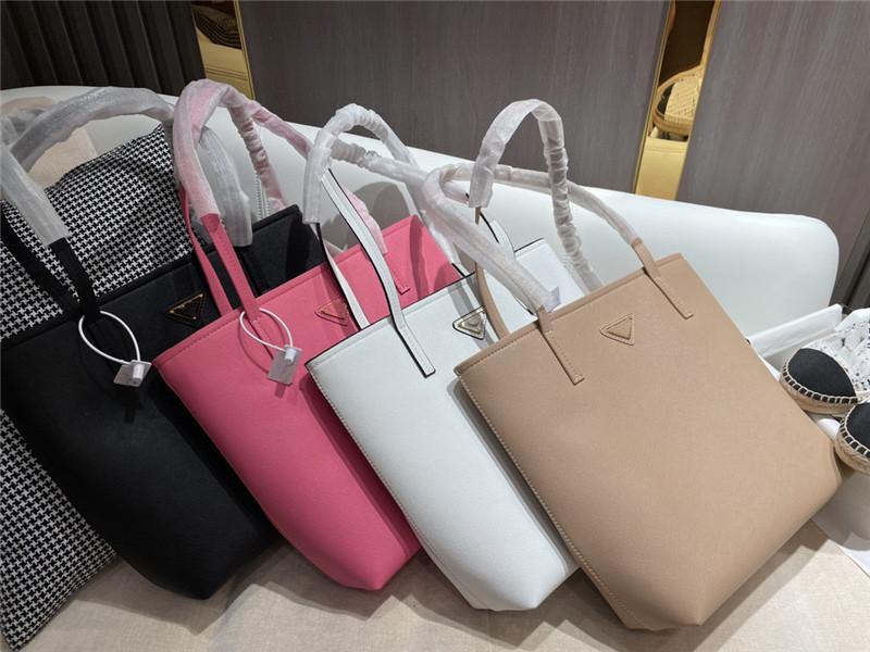 Material de cuero de vaca simple bolsa de asas triángulo patrón casual bolsas de compras de gran capacidad Bolso de hombro con caja de regalo