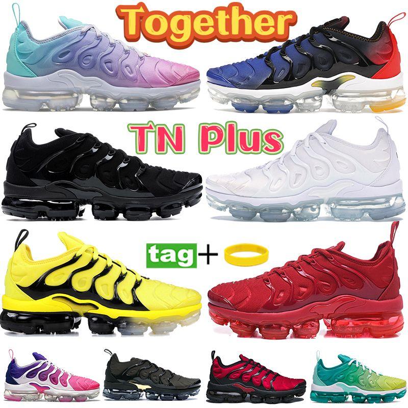 TN Plus Cushion Running Shoes juntos Triple Negro Blanco Rojo Rosa Rosa Limón Lima Lima Olímpica Hombre Entrenadores Blanqueados Aqua Beeach Femen Women Sneakers